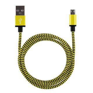1m Premium Metall/Nylon Micro USB Ladekabel Gold